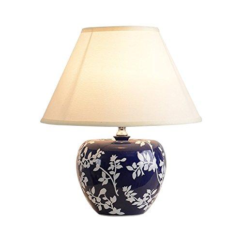 Crema China (Europäische Lampe China Keramik Schlafzimmer Nachttischlampe Retro Luxus dekorative Schreibtisch Lampen, Breite: 34cm, hoch: 52cm)