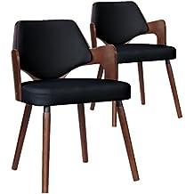menzzo dima lot de 2 chaises scandinave bois noir 51 x 51 x - Chaise Vintage Scandinave