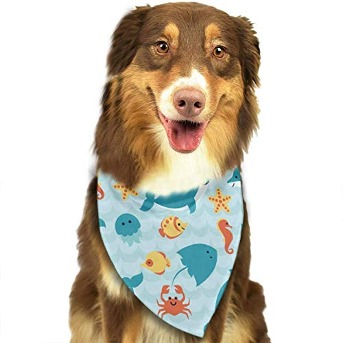 Pet Bandana Shark Vs Whale Art Washable and Adjustable Triangle Bibs for Pet Cats and Puppies