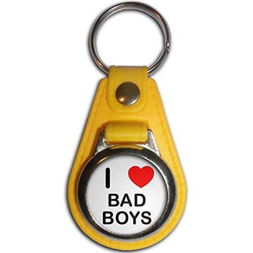 Preisvergleich Produktbild I Love Bad Boys - Gelb Kunststoff / Metall-Medaillon Farbe Schlüsselanhänger