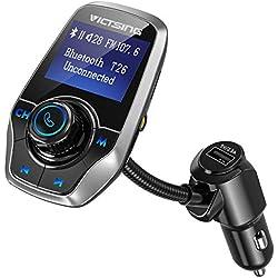 """VicTsing Transmetteur FM Bluetooth, [Sélection Du Dossier] Lecteur MP3 Kit Main Libre Voiture Bluetooth, Adaptateur Autoradio Avec Dual USB Ports Et Port Audio 3,5mm, Écran LED d'Affichage 1,44""""(Gris)"""