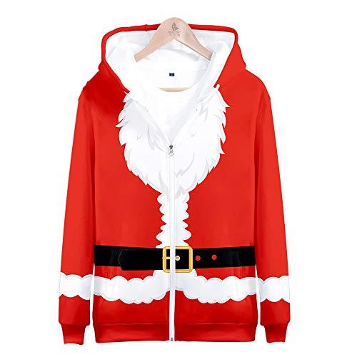 Natale Babbo Natale Felpa con Cappuccio Costume Stampa 3D Felpa Manica Lunga Accostare Giacca Autunno Inverno Unisex Cappotto Capispalla per Uomo