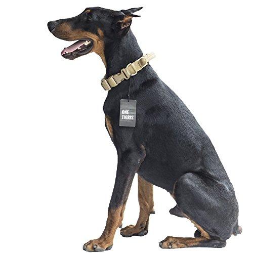 OneTigris Taktische Nylon Hundehalsband mit Griff Weich Verstellbare Halsband für Mittlere/Große Hunde (Khaki)