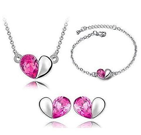Designer inspiriert Herz Halskette Armband und Ohrringe Set mit Swarovski