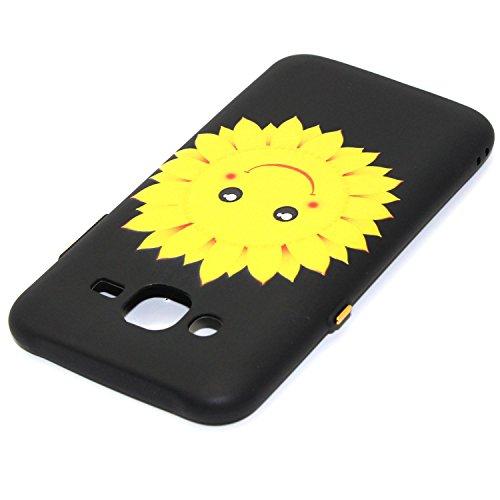 Galaxy J7 2015 Custodia, Galaxy J7(2015) Cover Nero, JAWSEU Samsung Galaxy J7(2015) SM-J700F Protezione Case Cassa Gomma Morbida Gel Silicone Custodia per Samsung Galaxy J7(2015) Cover Protectiva Bump #8 Floreale