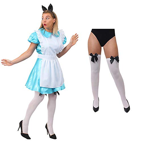 ILOVEFANCYDRESS Alice SEXY Frauen Kleid WUNDERLAND KOSTÜME VERKLEIDUNG +WEIßER SCHÜRZE+Hasenohren+ SCHWARZ/WEISSEN HALTERLOSEN STRÜMFEN MIT SCHWARZER Schleife=MEDIUM
