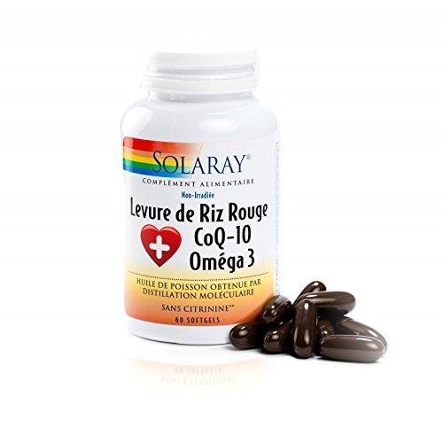 Solaray - Levadura de arroz rojo, 600mg, coenzima Q-10 30mg y Omega 3