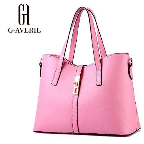 (G-AVERIL) Donna Handbag borsa a Spalla Borse a mano Tote Bag Shoulder Bag con rosa
