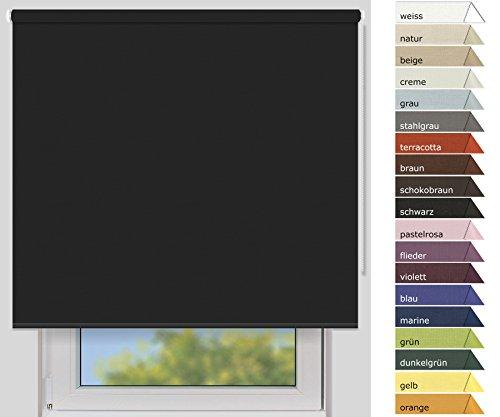 EFIXS Verdunklungsrollo Medium - 25 mm Welle - Farbe: schwarz - Größe: 220 x 190cm (Stoffbreite x Höhe) - weitere Standard-Größen im Angebot wählbar