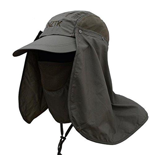 Sonnenhut Fischerhut für Mann Frauen,Tukistore UVF-Sonnenschutz im Freien UPF 50+ mit entfernbarer Hals-Flap-Gesichts-Abdeckungs-Maske u. Windundurchlässigem Streifen-breiter Rand