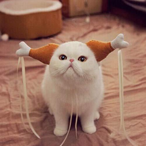 DERNON Hund Hut Mütze Cosplay Kostüm für Katzen Hunde Süße lustige Hühnerbein Haarschlaufe weiß & braun