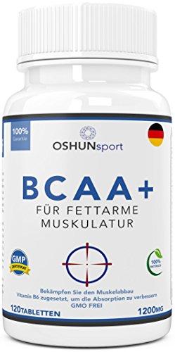 BCAA Tabletten   1200mg verzweigtkettige Aminosäuren   BCAA+ mit zugesetztem Vitamin B6 als Absorptionhilfe   Leucin, Isoleucin und Valin im optimalen 2 1 1 Nährstoffverhältnis   Aminosäure-Tabletten (nicht Kapseln)   Geeignet für Männer und Frauen   in GB erzeugt und GMP-zertifiziert   OSHUNsport Ernährung