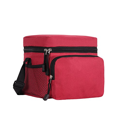 ORICSSON 6 / 9 / 16 - Thermal lunch bag with adjustable strap and 2 mesh pockets, polyester, Red, 6 Can