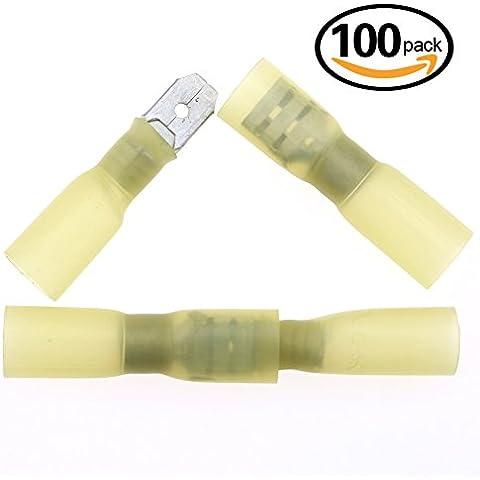 Hilitchi 100 Piezas de encogimiento del calor aislado miniplancha macho a hembra cable conector rápido cableado eléctrico engarzado Terminal
