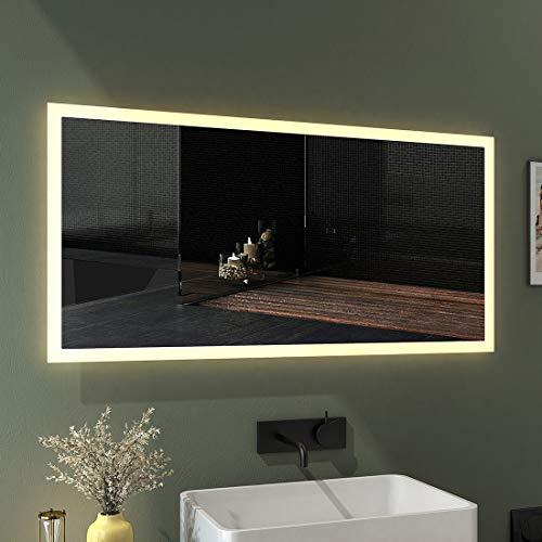 EMKE LED Badspiegel 120x60cm Badspiegel mit Beleuchtung Warmweiß Lichtspiegel Badezimmerspiegel Wandspiegel IP44 energiesparend