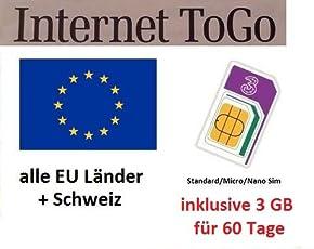 Prepaid Daten Sim Karte (mobiles Internet) für Italien, Spanien, Frankreich, Schweiz, Österreich, Schweden, Dänemark, Norwegen, Finnland, Großbritannien und Irland mit 3 GB Guthaben