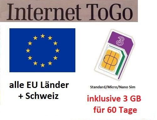 Mobile Internet-gerät (Prepaid Daten Sim Karte (mobiles Internet) für Italien, Spanien, Frankreich, Schweiz, Österreich, Schweden, Dänemark, Norwegen, Finnland, Großbritannien und Irland mit 3 GB Guthaben)