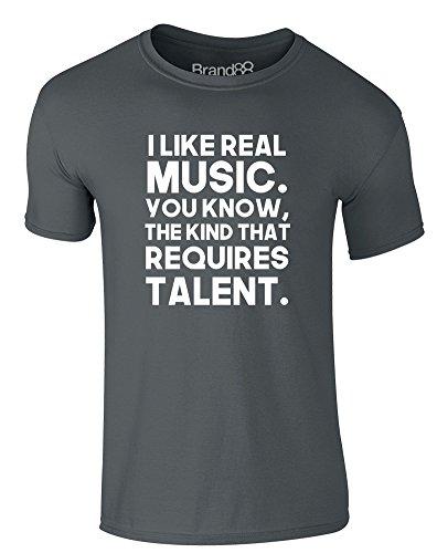 Brand88 - I Like Real Music, Erwachsene Gedrucktes T-Shirt Dunkelgrau/Weiß
