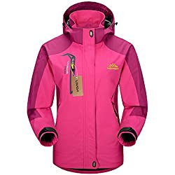 Lixada Mujer Chaqueta de Montana Impermeable con Capucha Desmontable Ropa Deportiva Cortaviento para Senderismo Acampada y Ciclismo XS Rojo rosado