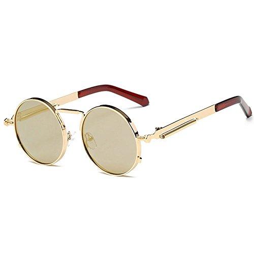 Kennifer retro occhiali da sole rotondi metallo unisex eyewear circle specchio occhiali uv400 per uomini e donne (oro, oro)
