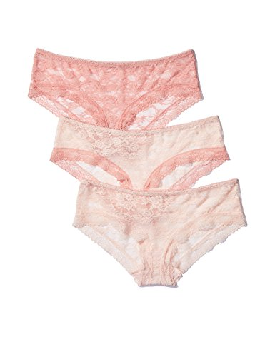 Iris & Lilly Damen Hipster mit Spitze, 3er Pack, Rosa (Pink/Rose), M