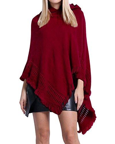 SUNNYME Damen Strick Poncho Cape Überwurf V-Ausschnitt Batwing Crochet Hoodie Strickjacken Weinrot One ()