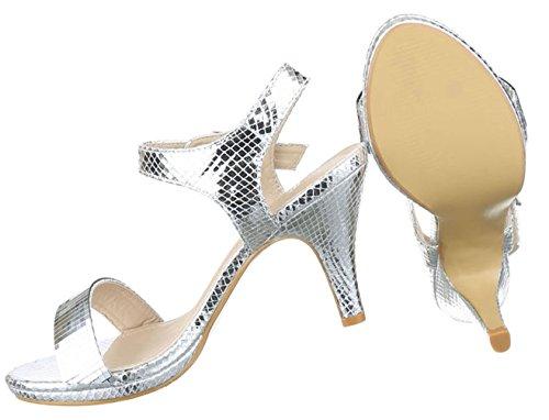 Damen Sandaletten Schuhe Pumps Abendschuhe Elegant Party Club High-Heel Pumps Schwarz Gold silber 36 37 38 39 40 41 Silber
