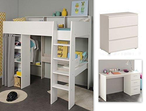 expendio Jugendzimmer Tomke 15 weiß 205x193x132 cm Hochbett mit Schreibtisch Bett Schreibtisch Kommode - Loft Bett Mit Schreibtisch