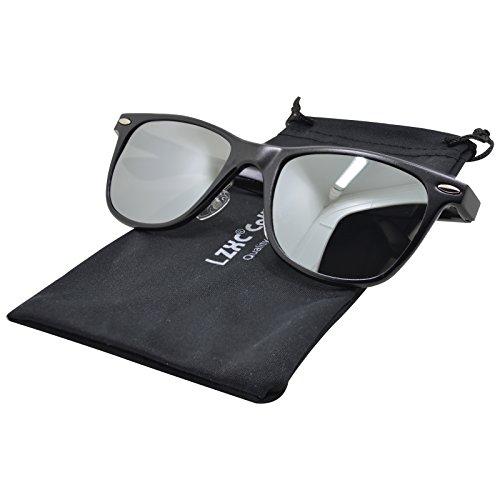 LZXC Unisex Polarisierte Sonnenbrille AL-MG Rahmen Federscharnier für Herren Damen - Schwarz Rahmen Silber Spiegel Linse