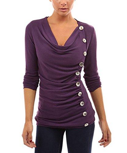 Shirt Damen V Ausschnitt Langarm Lässig Blusen Sport Herbst Winter Violett