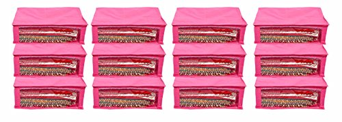 Kuber Industries™ Saree Cover Set of 12 Pcs in Non Woven Material...