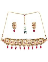 Priyaasi Pink & Gold-Toned Kundan-Studded Choker Jewellery Set