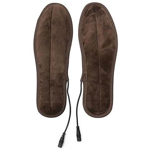Butterme 1 paire USB Alimentation électrique Chaussures chauffantes Semelles Inox Warm Plush Plates Pieds Warmth-Keeping Pads