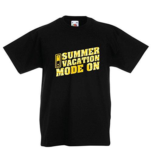lepni.me Camiseta Niños/Niñas Vacaciones de Verano - Modo Activado - Último Día de Clases/Ideas de Regalos de Graduación (3-4 Years Negro Multicolor)