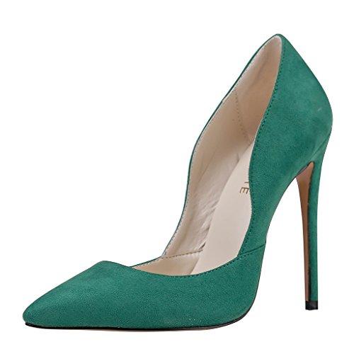 MERUMOTE , Chaussures à talon fin femme Vert - Green-suede