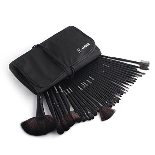 BZLine® Ensemble de Pinceau de Maquillage 32 Pcs + étui, pinceaux de Beauté Cosmetic Tools-Beginners, Pinceau de Contour des Yeux, Pinceau en Poudre (Noir)