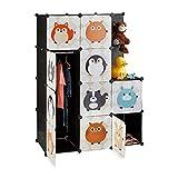 Relaxdays Steckregal Kinderzimmer, Tiermotive, Kunststoff Stecksystem, m. Türen, Kleiderschrank, m. Kleiderstange, bunt