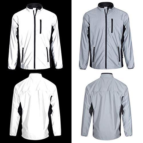 BTR stark reflektierende Jacke in Silber - reflektierende Fahrradjacke oder Laufjacke für Herren