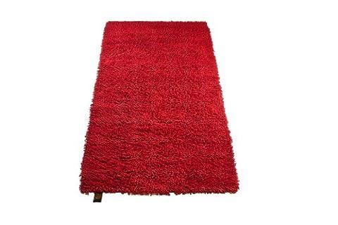 Gözze Teppich, 100% Baumwolle, Wollgarn-Hochfloroptik, 70 x 120 cm, Rot, 1010-4999-72 (Teppich Rot)