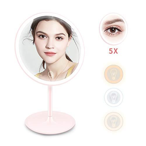 Ranikeer Espejo Maquillaje con Luz LED, Espejo Redondo de Mesa, un más Espejo Chico de 5 aumentos...