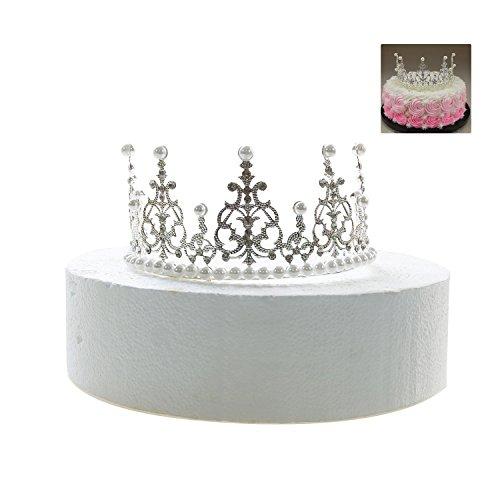 gisiny Silber Krone Tortenaufsatz für Mädchen Prinzessin Geburtstag Kuchen Dekoration