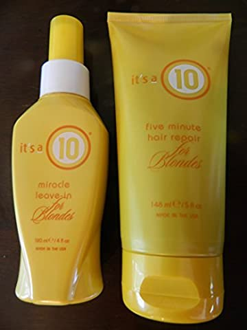 Its a 10 Miracle Leave in for Blondes 4oz + Miracle Five Minute Hair Repair for Blondes 5oz Works Together for Ultimate Condition and Tone Blonde Hair by Its a 10