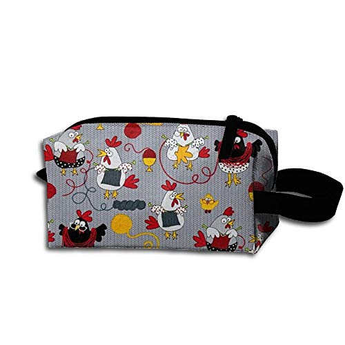 Red Chickens Grey Travel Bag Printed Multifunction Portable Toiletry Bag Cosmetic Makeup Pouch Case Organizer for Travel. (Gnome Dodger)