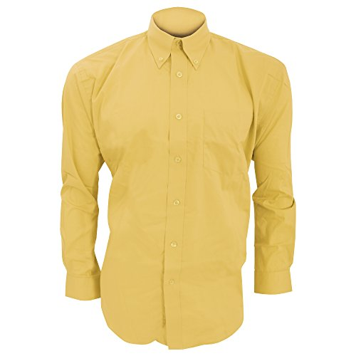 Kustom Kit Corporate Oxford Herren Hemd, Langarm Kohlegrau