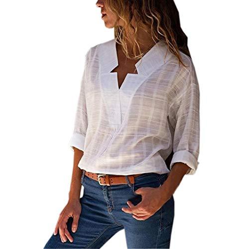 (Subfamily Mode Frauen V Neck Langarm Baumwolle Leinen T-Shirt lässige Bluse Tops V Ausschnitt Sommer und Herbst Beiläufig Hemd Lässig Bluse Fashion Oberteile Sweatshirt)
