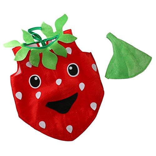 Gazechimp Kinder Kleinkind Kostüm Erdbeere aus Flanell zu Karneval Fasching (Kleinkind-halloween-kostüm Erdbeere)