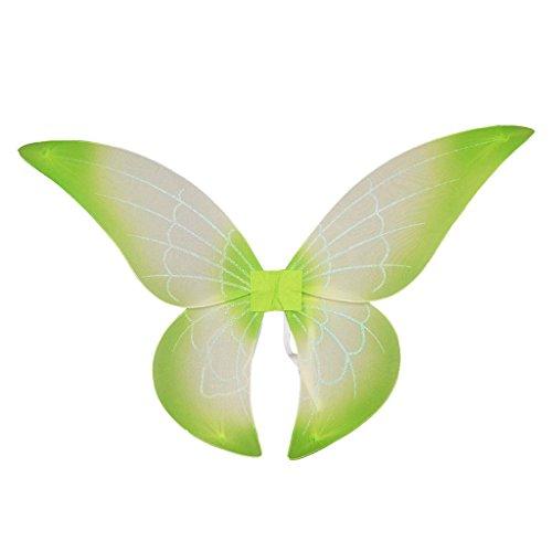 IPOTCH Glitzer Elfen Flügel Fee Elfe Kostüm Schmetterlingsflügel l für Karneval, Fasching, Halloween, Motto Party / Verkleidung - Grün, 69 x 53 cm (Für Halloween Fee Flügel)
