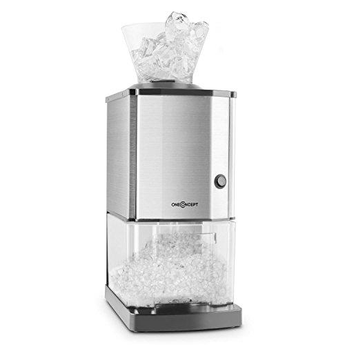 oneConcept Icebreaker • Ice Crusher • Eiscrusher • Eiszerkleinerer • 15 kg / h • 3,5 Liter (etwa 1,75 kg) Eisbehälter • aufsetzbarer Einfülltrichter • Sicherheitsschalter • Saugnapffüße • kompakt • einfach zu reinigen • Edelstahlgehäuse • silber