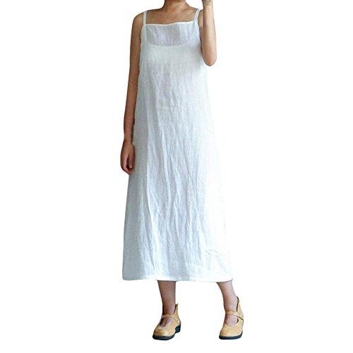 Kostüm Dance 1950's - MAYOGO Damen Solid Sommerkleider Ärmellos Sling Weiß Lange Maxikleid Tunikakleid Blusen Kleid aus Baumwolle und Leinen,S-3XL