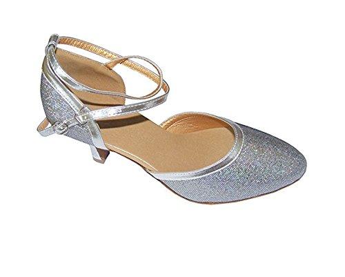 Pobfashion Moderne Tanzschuhe glitzernde Damenschuhe in vielen reflektierenden Farben (EU37, grau)